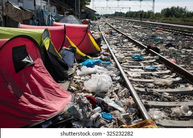 Tovarnik, Croatia - September 21, 2015: Tents left behind by refugees can be seen in a train station in a village on the border between Serbia and Croatia