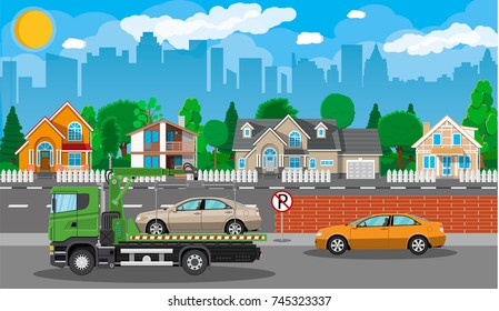 Tow truck takes car. Parking is prohibited. City road side assistance service. Evacuator car vehicle. Cityscape, suburb, house, tree. Road, sky, clouds. illustration in flat style