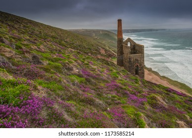 The Towanroath Shaft Pumping Engine House at Wheal Coates on a rainy day.