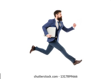 Towards success. Inspiring innovations. Businessman inspired guy feel powerful going to change world. Man inspired hold laptop while jump. Follow your dream. Keep moving. Inspired for start up.