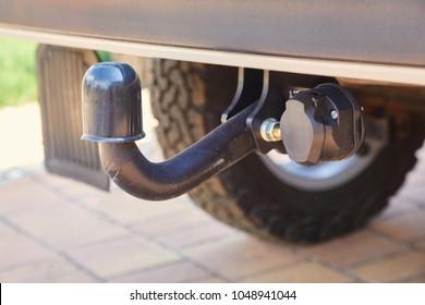 Towbar on a car, black steel part