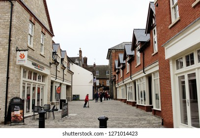 Towcester, Northamptonshire / UK - December 31, 2018: Shoppers in the newly opened Whittons Lane in Towcester.