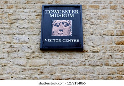 Towcester, Northamptonshire / UK - December 31, 2018: Sign outside of the Towcester Museum.