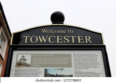 Towcester, Northamptonshire / UK - December 31, 2018: Welcome to Towcester information sign.