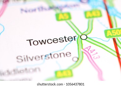 Towcester. United Kingdom on a map