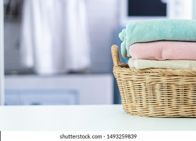 Towel basket on the background of the wash room