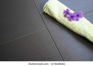 Towel and lavender flower