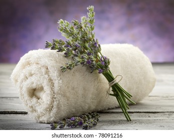 towel with lavender, spa concept