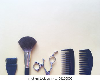 Towel scissors comb tools barber hairdresser hair stylist hair brush water bottle. White background color. Dark elements.