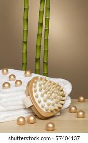 towels, bath pearls, massagepad and three bamboo sticks
