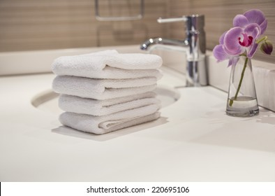 towels in bathroom