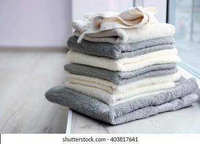 Towels on windowsill