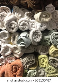 Towels Rolled And Stacked