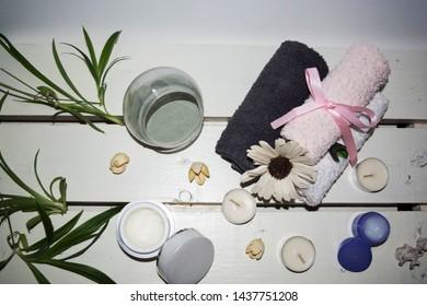 towels skin care cream cosmetic background spa