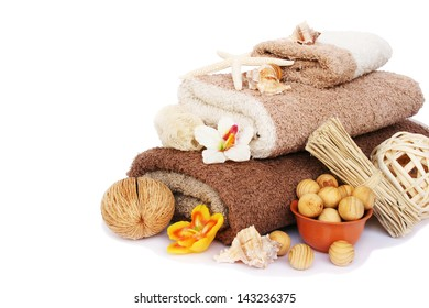 Towels and spa set isolated on white background.