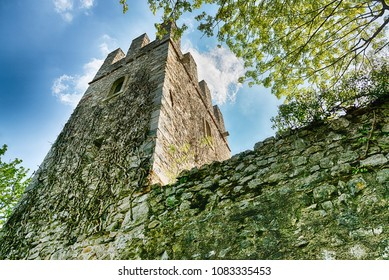 the tower of ancient fortress of Orino in the woods of the regional park Campo dei Fiori Varese