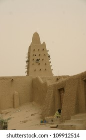 the tower of an ancient mud mosque in Timbuktu, Mali, in AFrica issues the call to prayer each day for the Muslim faithful