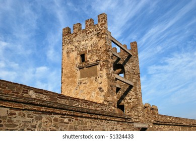 Tower of ancient strengthening on a background of the blue sky