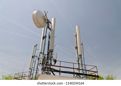 Tower of an antenna and the blue and clear sky