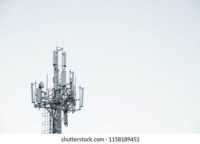 tower with antennas of cellular mobile communication in the city