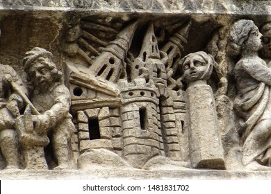 The Tower of Babel: a detail from Nîmes's Romanesque cathedral (cathédrale Notre-Dame-et-Saint-Castor ), 11th-12th century CE.
