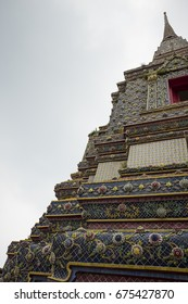tower bangkok in the temple thailand abstract cross colors roof wat palaces asia sky and colors religion mosaic sculpture