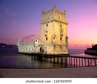 Tower of Belem at sunset, Lisbon, Portugal, Western Europe.