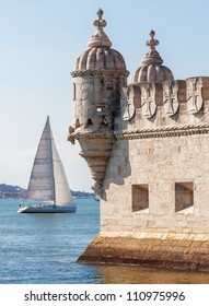 Tower of Belem ( Torre de Belem ) and white yacht - Lisbon