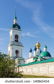 Tower bell and Cathedral of Conception of St Anna in Spaso-Yakovlevsky Monastery in Rostov, Russia