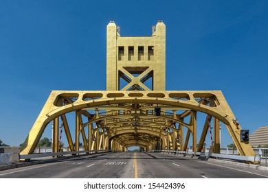 The Tower Bridge (1935) is a vertical lift bridge that crosses the Sacramento River in Sacramento, California