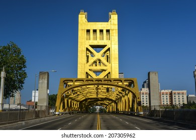 The Tower Bridge (1935) is a vertical lift bridge that crosses the Sacramento River in Sacramento, California.