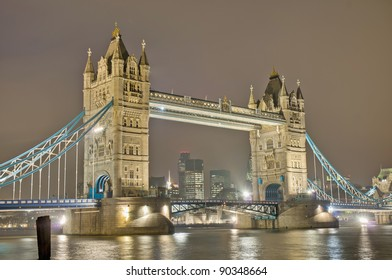 Tower Bridge across Thames river at London, England