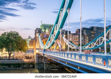 The Tower Bridge after sunset, London.