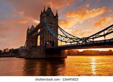 Tower Bridge against morning sunrise in London, England. This photo make HDR technic.