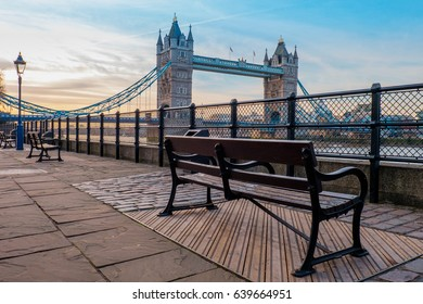 Tower Bridge and bench in the morning with nobody in long exposure.