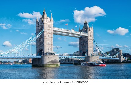 Tower Bridge with blue sky in London, UK