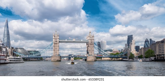 Tower Bridge with Business district and cityhall panoramic view in London, UK
