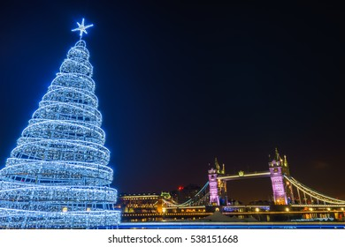 Tower Bridge and a Christmas Tree in London
