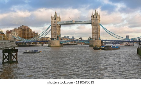 Tower Bridge at Cloudy Weather in London England
