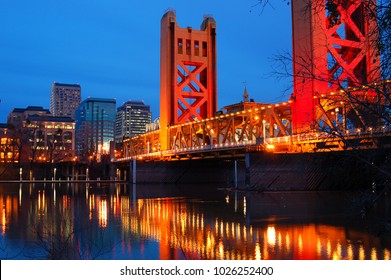 The Tower Bridge Crosses the Sacramento River in the heart of Downtown Sacramento, California