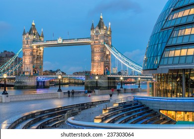 Tower Bridge crossing the River Thames in London from City Hall