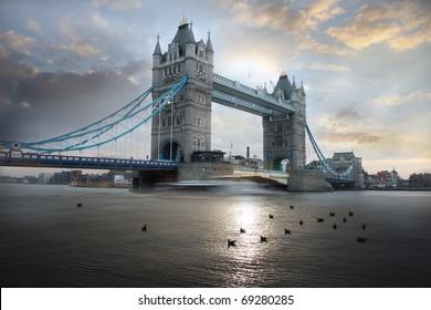 Tower Bridge during evening, London, UK