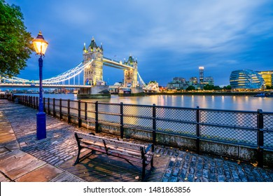 Tower Bridge at dusk in London. England