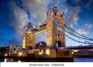 Tower Bridge at dusk in London, United Kingdom