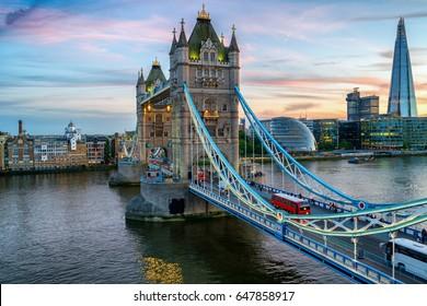 Tower Bridge at evening dusk