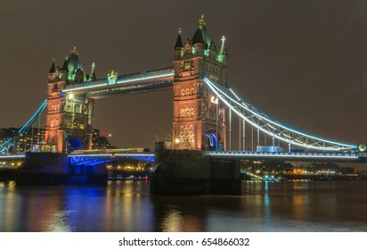 The Tower Bridge in the evening, London, UK.