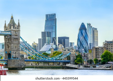 Tower bridge and financial district of London with a cloudless sky at sunset