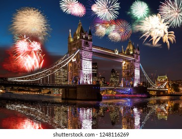 Tower Bridge with firework in London, England (celebration of the New Year)