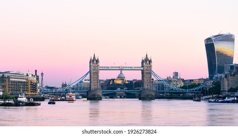 Tower Bridge front view at sunrise in London. England