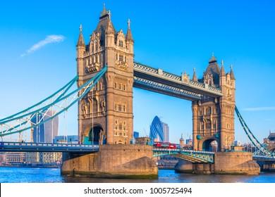 Tower Bridge and the Gherkinn skyscraper, Thames river, London, UK